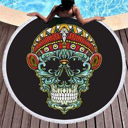 $enCountryForm.capitalKeyWord NZ - 1 Pcs Mandala Skull Round Beach Bath Towel With Tassels Microfiber 150cm Picnic Yoga Blanket Bikini Cover Up Tapestry