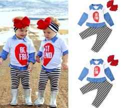 headbands bow Australia - Twin sisters school style Clothing sets letter print long-sleeve shirt+ striped pants+ bow headband girl kids cotton costume 3 pcs set LA131
