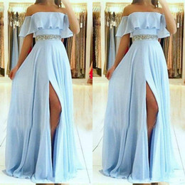 cheap one side slit dresses Canada - Light Sky Blue 2019 Prom Dresses Beading Belt Sexy A Line Women Long Side Slit chiffon Cheap Evening Dresses