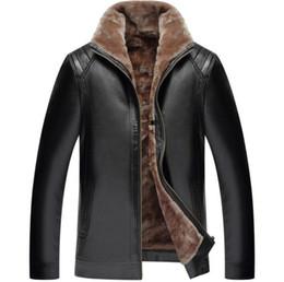 Revestimento exterior do couro do inverno dos homens, couro um Zipper do Mens, Windproof, costura morna, couro da cor sólida, colar do suporte, engrossar venda por atacado
