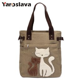 Cute Canvas Handbags Australia - 2019 Fashion Women's Handbag Cute Cat Tote Bag Lady Canvas Bag Shoulder Bag Ll61 Y19051702