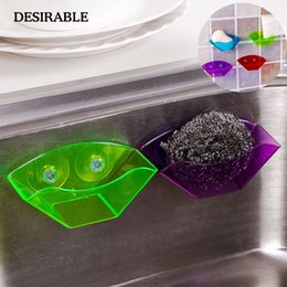 Candy Kitchen Australia - wholesale Soap Sponge Tool Box Drainage Storage Kitchen Bathroom Plastic Storage Box Suction Cup