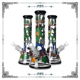 Water Bongs 9mm Australia - New Design Cartoon Art Glass Beaker Bong 9mm Thick Glass Smoking Water Pipe Bongs Wholesale In Soock free shipping