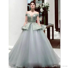 Wears off online shopping - Sexy Off Shoulder Ball Gown Tulle Prom Dresses With Crystal Sashes Evening Gowns Lace Up Back Plus Size Long Formal Evening Wears
