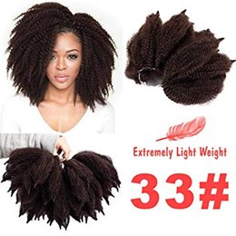 $enCountryForm.capitalKeyWord Australia - 3Packs Ombre Black Brown Afro Kinky Marley Braids Hair Extensions 8Inch Kinky Twist Crochet Braids Synthetic Hair Extensions (8Inch #33)