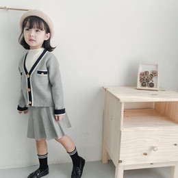 $enCountryForm.capitalKeyWord Australia - Autumn Winter Elegant Kids Clothing 2 Piece Sets Knitted V-neck Cardigan Jacket+Knitted Mini Skirt Children Girls Outfits 2-8T