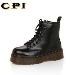 CPI Botas Mujeres Motocicleta Botines Cuñas Mujer Plataformas con cordones Otoño Invierno Cuero Oxford Zapatos Mujer tacones altos AC-24 en venta