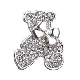 wholesale rhinestone brooches Australia - Vintage Jewelry Small bear Brooch For Women Crystal Rhinestone Animal Badge Broche Suit Scarf Pin Brooches