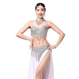$enCountryForm.capitalKeyWord Australia - 2pcs Set Belly Dance Tribal Sexy Set Beaded Bra Bellydance Sequin Tassel Belt Dance Suit Costume(Bra+Belt)