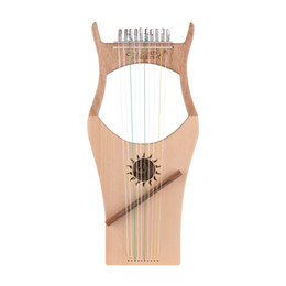 Wholesale 10 string wooden winch harp nylon string spruce top beech wood stringed instrument carrying bag