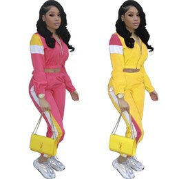Pink Clothing Women UK - Women Patchwork Tracksuit Zipper Crop Jacket Coat + Pants Leggings 2PCS Set Jogger Outfits Match Color Sportswear Summer Clothing Suit A372