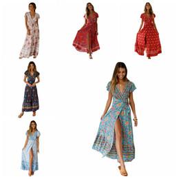 7e2791d0ab466 Women Floral Print Beach Dresses Lady Travel Party Bohemia Dresses Summer  Holiday Sexy Long Dress Elegant Clothing TTA629