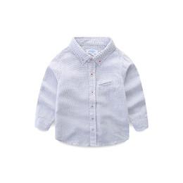 Toddler Boy 4t Australia - Boys Shirts 100% Pure Cotton Kids Long Sleeve Dot Shirt Toddler Boy White Turn-down Collar Children Clothes