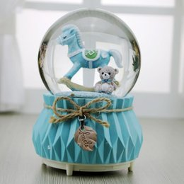 porcelain gift ornaments Australia - New Music Box Wooden Horse Elk Snow Light Luminous Crystal Ball Music Boxes Home Decor Ornament Birthday Gift For Kids