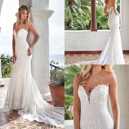 $enCountryForm.capitalKeyWord Australia - Sweetheart Neckline Vintage Wedding Dresses Lace Appliqued Sleeveless Mermaid Wedding Gowns Floor Length Beach Bridal Dress