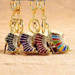 $enCountryForm.capitalKeyWord Australia - 7 Styles Lovers Souvenirs Gift Women Crystal High Heeled Shoes Rhinestone Keychain Bags Pendant Key Ring House Cars Key Holder