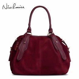Design Suede Leather Bag Australia - Nico Louise Women Real Suede Leather Boston Bag Original Design Lady Shoulder Traveling Doctor Handbag Top-handle Bags Sac #113390