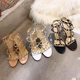 super soft comfortable shoes 2019 - fashion women The rivet shoes fashion Nude black and white The high quality Hemp rattan cross lashing Comfortable health