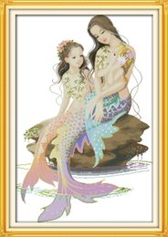 $enCountryForm.capitalKeyWord Australia - The little mermaid and her mother decor painting ,Handmade Cross Stitch Embroidery Needlework sets counted print on canvas DMC 14CT  11CT
