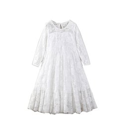 Chinese  Retail Party Dress For Girl Children Long Sleeve Lace Ankle Length Wedding Dress Kid Princess Dress Children Clothing E17847 manufacturers