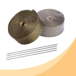 exhaust wrap UK - 1PCS 5cm*5M Titanium Black Exhaust Heat Wrap Roll for Motorcycle Fiberglass Heat Shield Tape with Stainless Ties