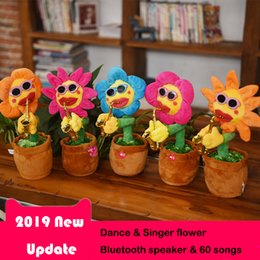 Bluetooth Toys Australia - Dancing & Singing Flower Bluetooth Speaker Enchanting Sunflower Soft Stuffed Plush Toys Funny Electric Toys for Kids Gift