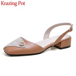 big toe sandals Canada - Krazing pot new arrival big size mixed color square toe med heel button decoration sweet girls buckle strap sandals women L0f1