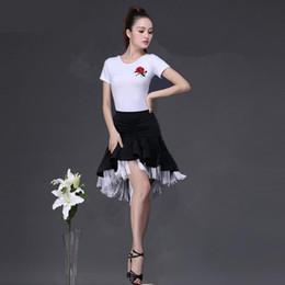 $enCountryForm.capitalKeyWord Australia - New Latin Dance Skirt Double Layers Design Adult Practise Competition Dance Skirt Tops Fringe Latin Ballroom Costume