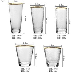 wholesale wine glasses NZ - wholesale custom hand blown 400-500ml premium clear crystal glass drinkware wine tumbler glasses with gold rim