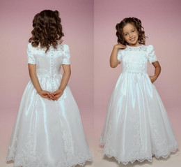 $enCountryForm.capitalKeyWord Australia - 2019 Hot Sale Charming White Holy Communion Gowns Long Jewel Neck Buttons Back Short Sleeves Lace Applique Kids Formal Wear