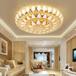 ClassiCal european art online shopping - European creative crystal round ceiling chandelier light luxury crystal chandeliers lamp glod led ceiling lighting for living room bedroom