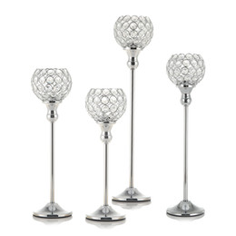 hurricane glasses wholesale Australia - Crystal Silver Candle Holders Metal Glass Candlesticks Wedding Table Stand Centerpieces Coffee Bar Home Holiday Decoration Housewarming Gift