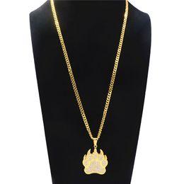 $enCountryForm.capitalKeyWord Australia - Cute Bear Paw Pendant Necklace For Men Hip Hop Footprint Rhinestone Long Necklace Geometric Gold Plated Alloy Jewelry Accessories Wholesale