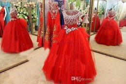 $enCountryForm.capitalKeyWord Australia - Cap Sleeve Beads Crystals Pageant Dresses Evening For Girls Tulle little girls Red Flower Girl Dress 2019 golden globe Girl Pageant Dresses