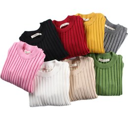 Sweater For Children S UK - Kid's Fitted Ribbed Top Baby Boys Girls Sweater Children Clothes Girl Children Clothing Knitted Pullover Solid Sweaters for Kids