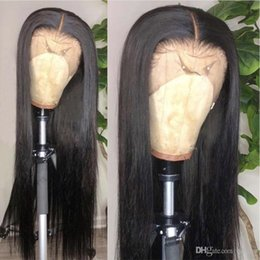 $enCountryForm.capitalKeyWord Australia - Full Lace Straight Human Hair Wigs Pre Plucked Malaysian Virgin Remy Long Black Color Straight Glueless Lacefront Wig For African American