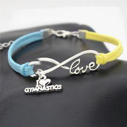 $enCountryForm.capitalKeyWord Australia - 2019 New Fashion Infinity Love Gymnastics Sports Pendant Bracelets for Women Men Blue Yellow Leather Suede Rope Charm Jewelry Pulseras Gifts