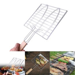 $enCountryForm.capitalKeyWord Australia - Summer Outdoor Barbecue Tools Grilled Fish Meat Clip Roast Meat Hamburger Net Environment Barbecue Accessories with Wood Crank BBQ meshes