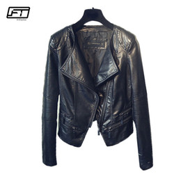 Lady Motorcycle Slim Jacket Australia - Fitaylor Spring Autumn Ladies Motorcycle Leather Jackets Women Turn-down Collar Zipper Slim Black Moto & Biker Jacket Female T5190612