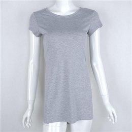 c1cda3d3f Sexy Long Blouse Split Women Tshirts Loose Short Front Long Back Fashion Tops  Short Sleeve Irregular Tees