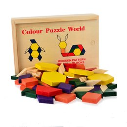 wholesale wood animals NZ - Wood Shapes Tangram Puzzle Box Toys For Kids brain and Boards Classic 60 Solid jigsaw puzzles Factory Cost Cheap Wholesale 2 sets Or More