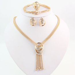 purple crystal costume jewelry Canada - Latest Fashion African Beads Jewelry Sets Wedding Costume Women Party Gold Color Crystal Necklace Bangle Earring Ring