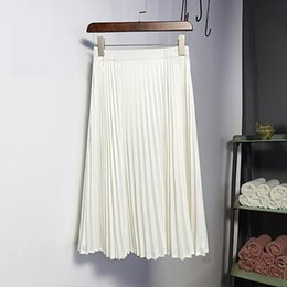 e5e8577bae 2019 6 Colors Available Spring New Arrival Korean Style High Waist Metal Pleated  Skirt Knee-length Vintage Skirt Free Shipping Y19043002