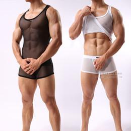 $enCountryForm.capitalKeyWord Australia - Sex Costumes Mens High Elastic Gauze Vest Lingerie Breathable Mesh Underwear Set Sexy Transparent Sleepwear Male Pajamas Suit MX190724