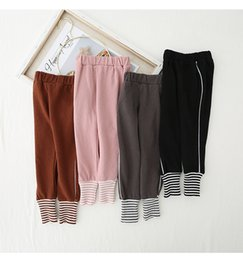 Wholesale girls foot tights for sale - Group buy 2019 autumn new children s waist sports casual pants feet leggings boys and girls solid color cotton children s trousers P013