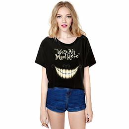 Black Cat Tee Australia - Summer Fashion Alice In Wonderland Cheshire Cat Mike Harajuku Loose Women Short T Shirt Black Casual Tee Tops