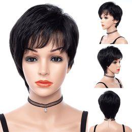 $enCountryForm.capitalKeyWord Australia - MSIWIGS Short Women Wigs in Black Kinky Straight Synthetic Hair Wig with Side Bangs No Glue 8 Inch Hair Heat Resistant