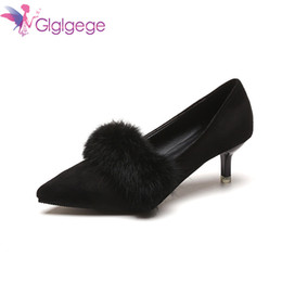 Fur Shoes Rabbit Women Australia - Designer Dress Shoes Glglgege Office Lady Faux Suede High Heels Woman Pointed Toe Rabbit Fur Basic Pumps Women Boat zapatos mujer
