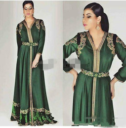 China 2019 Emerald Green Moroccan Caftan Long Sleeve Evening Dresses Custom Make Gold Embroidery Kaftan Dubai Abaya Arabic Evening Wear Gowns cheap caftan sleeve dress suppliers