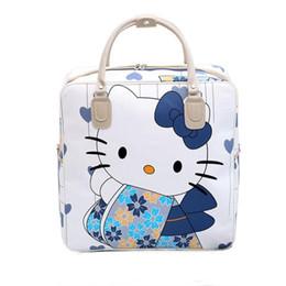 $enCountryForm.capitalKeyWord Australia - PU Leather Hello Kitty Cat Travel Bag Women Girl Cute Duffle Pouch Weekend Overnight Cartoon Shoulder Tote Portable Luggage Item